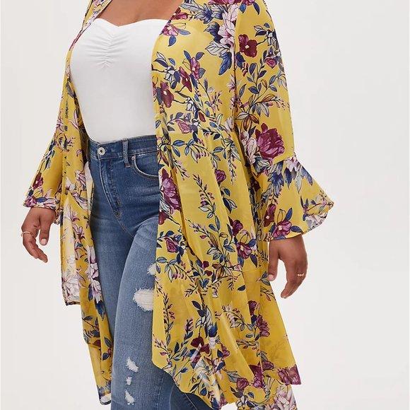 TORRID - Yellow Floral Duster Kimono SZ 2 (2X)